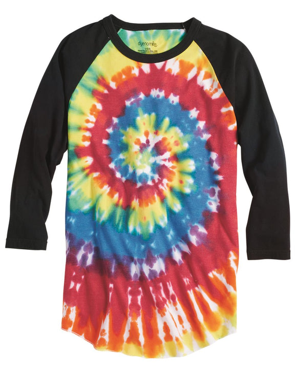 Tie-Dyed Three-Quarter Sleeve Raglan T-Shirt