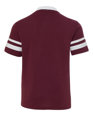 Youth V-Neck Jersey with Striped Sleeves