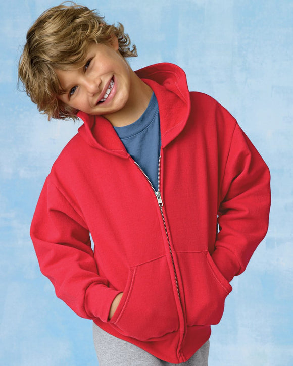 "ComfortBlend"" EcoSmart"" Youth Full-Zip Hooded Sweatshirt"