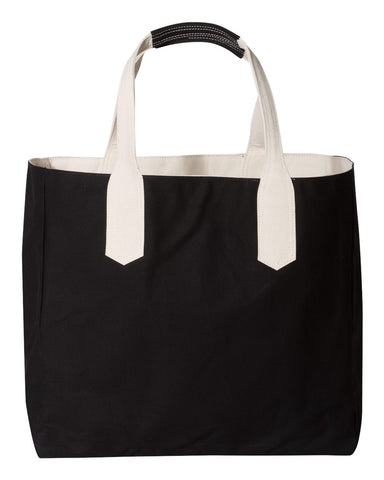 Solid Tote with Contrast Handles