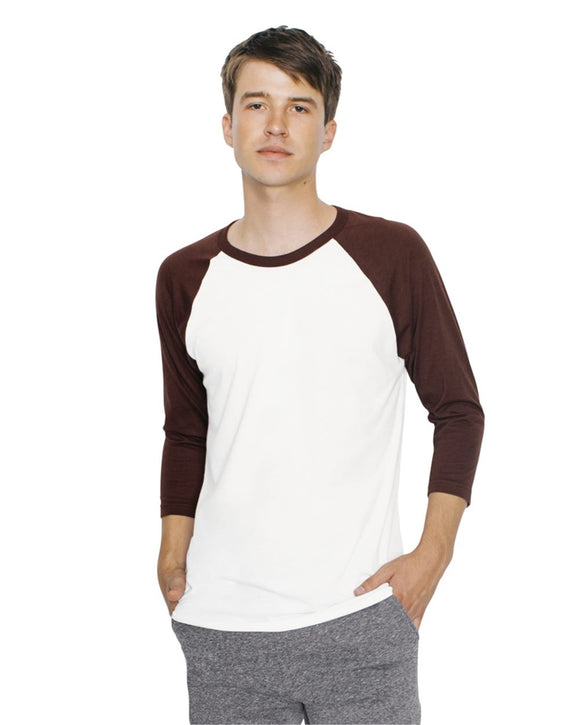 Unisex 50/50 Poly/Cotton Raglan Three-Quarter Sleeve T-Shirt (USA)
