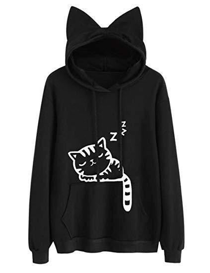 Cute Black Sleeping Cat Hoodie - michelle.97
