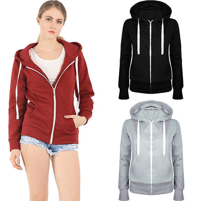 Ladies plain zip up hoodies - michelle.97