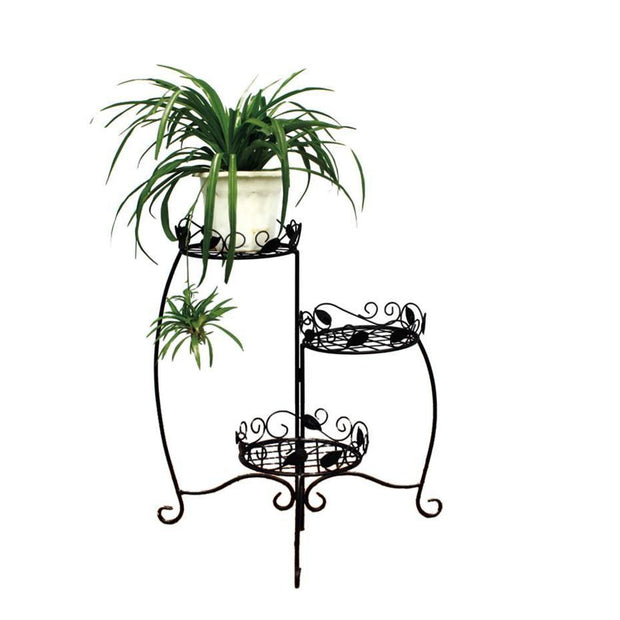 Pot stand. Leaf design. 3 Pot. 62cm high. Black. - Gro Urban Oasis
