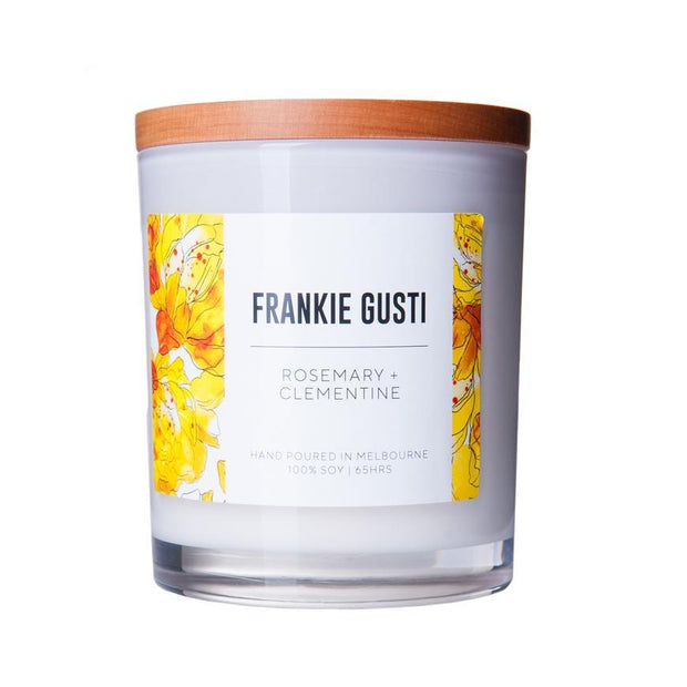 Frankie Gusti Candle, Signature - Rosemary + Clementine LGE - Gro Urban Oasis