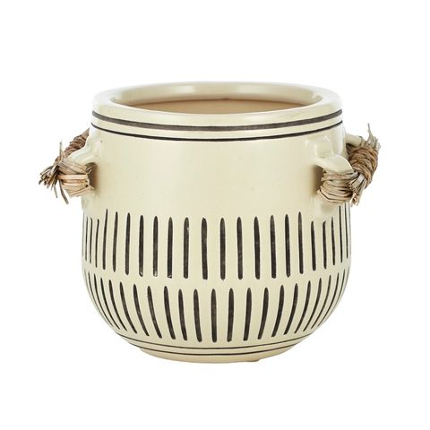 Nikos Ceramic/Rope Pot White - Gro Urban Oasis