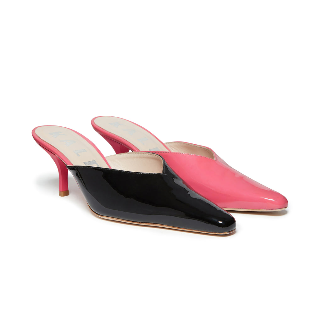 Kalda Alba Mismatch Mule Black and Pink pair