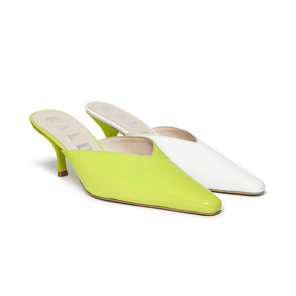Kalda Alba Mismatch Mule Green and White pair