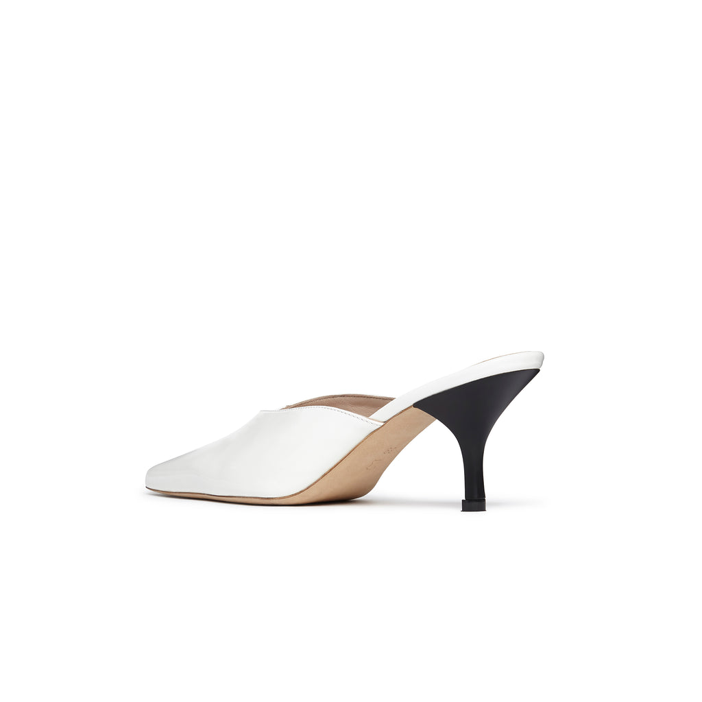 Alba Mismatch Mule Black and White Patent