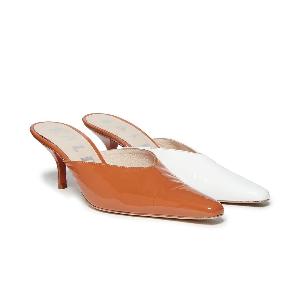 Kalda Alba Mismatch Mule Brown and White pair