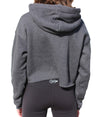 Back of Logo Cropped Fleece Hoodie in Dark Grey Heather