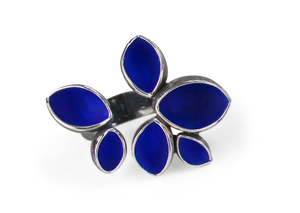Silver Goblet Warmer Ring - Royal Blue