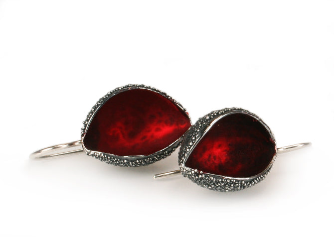 Silver Snow Cup Warmers Earrings - Red