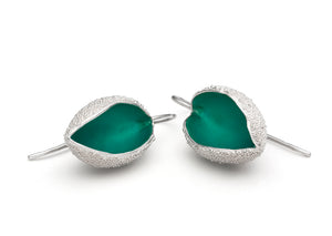 Silver Snow Cup Warmers Earrings - Turquoise