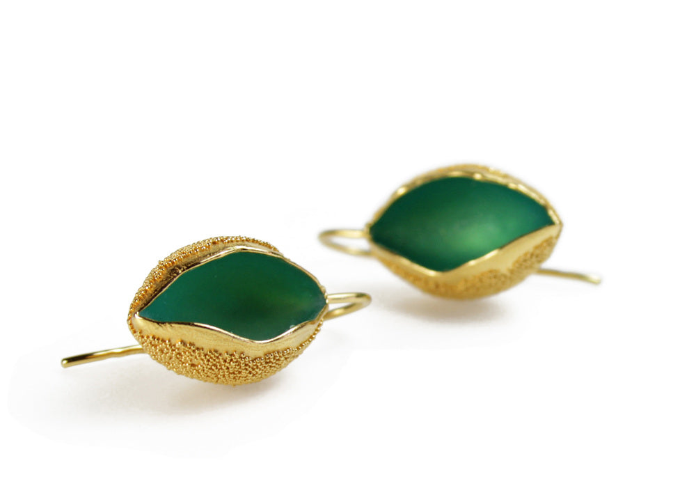Gold Snow Cup Warmers Earrings  - Green