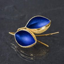 Load image into Gallery viewer, Gold Snow Cup Warmers Earrings - Royal blue