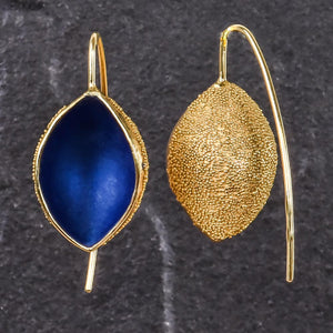 Gold Snow Cup Warmers Earrings - Royal blue