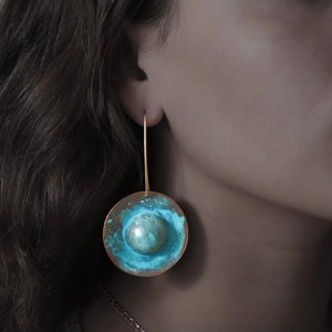 Saturn Grand Oxidized Copper Earring