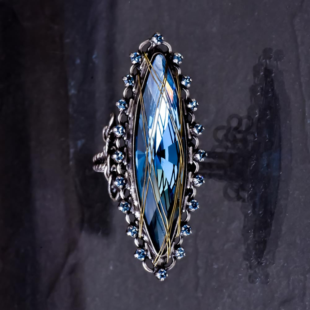 Global Glam Blue Crystal Ring