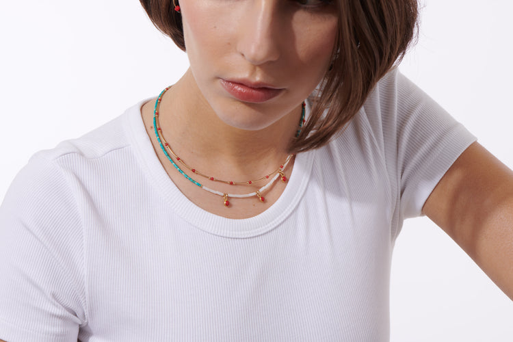 Collier Turquoise & Nacre gouttes Corail