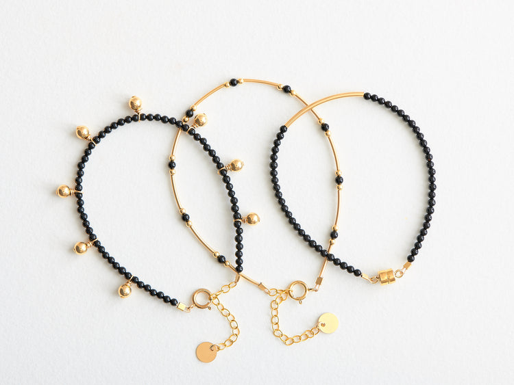 "Trio Bracelet ""Tiny"" & ""Mini Beads"" & ""My Luck"" Onyx"