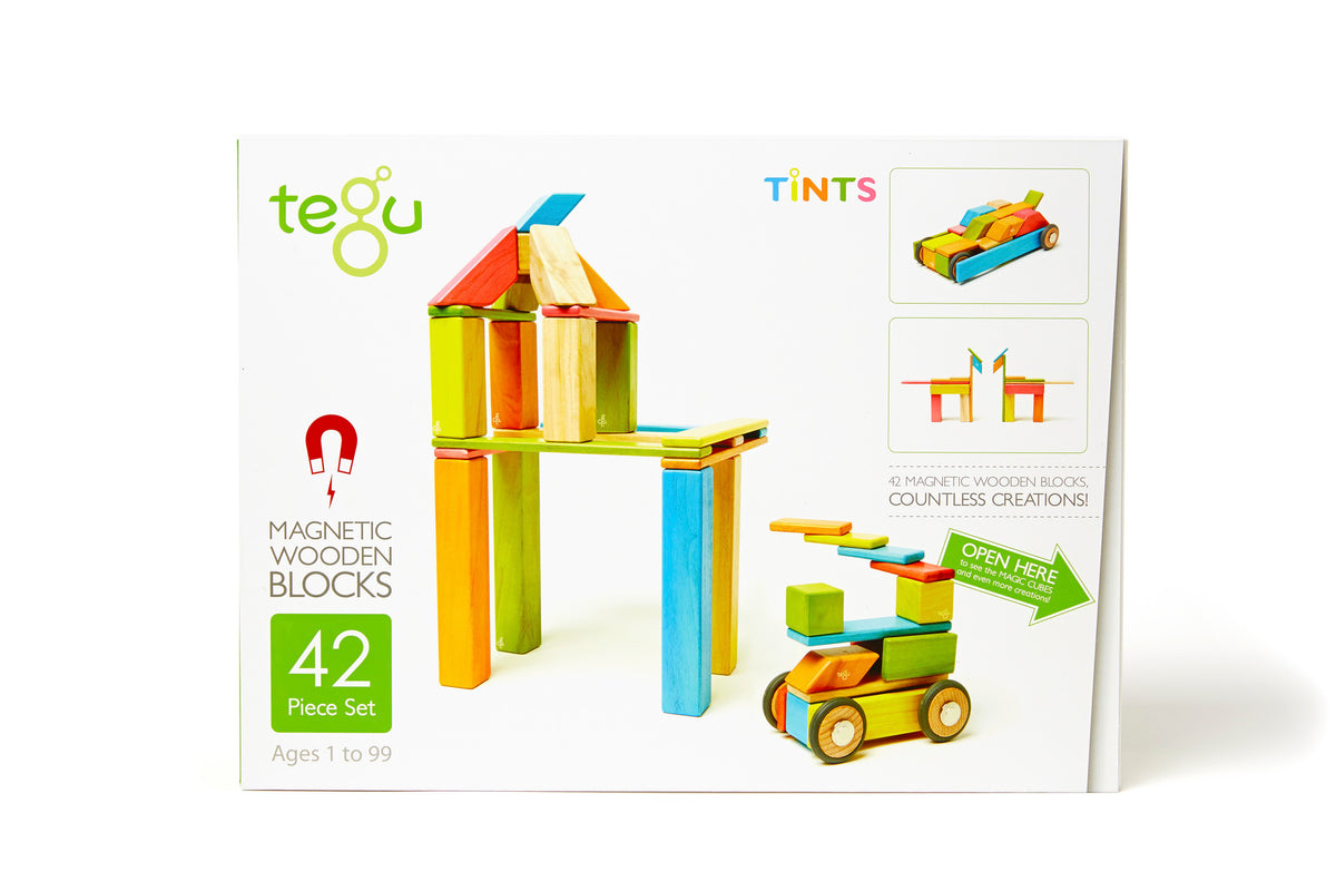 Tegu Classic Tints Magnetic Wooden Blocks 42-Piece Set