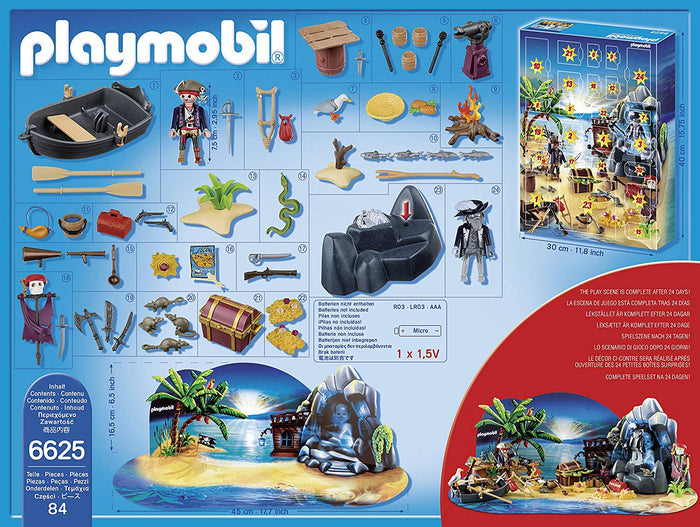 Playmobil 6625 Advent Calendar 'Pirate Treasure Island' with Glowing Effect Pirate