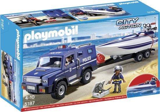 Playmobil City Action 5187 Police Truck With Speed Boat 90 Pcs