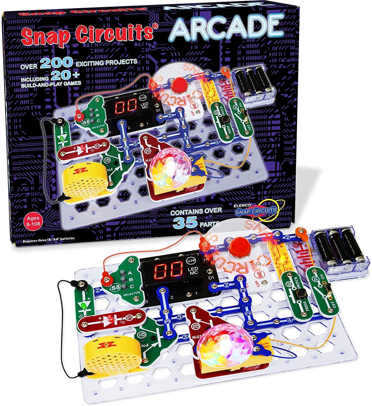 Snap Circuits Arcade Electronics Exploration Kit Over 200 STEM Projects 4-Color Project Manual  20+ Build and Play Games  35+ Snap Modules