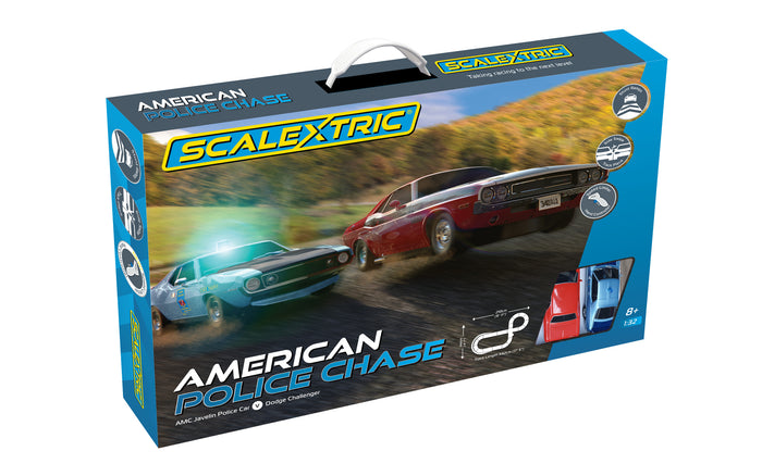 Scalextric American Police Chase AMC Javelin Police car v Dodge Challenger