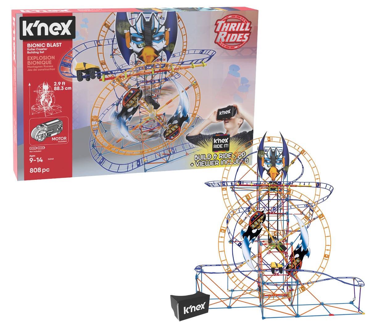 KNEX Thrill Rides Bionic Blast Roller Coaster Building Set with K'NEX Ride It APP