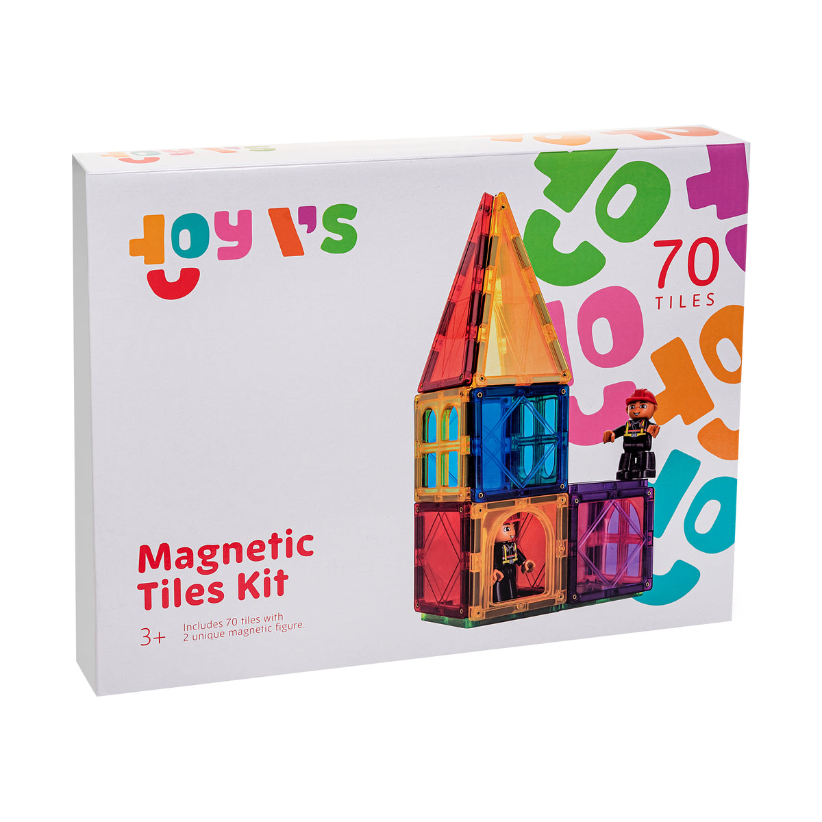 ToyVs Tile Magnets 70 Magnetic Shapes 2 Magnetic Figures 3D STEM Building Blocks for Ages 3+