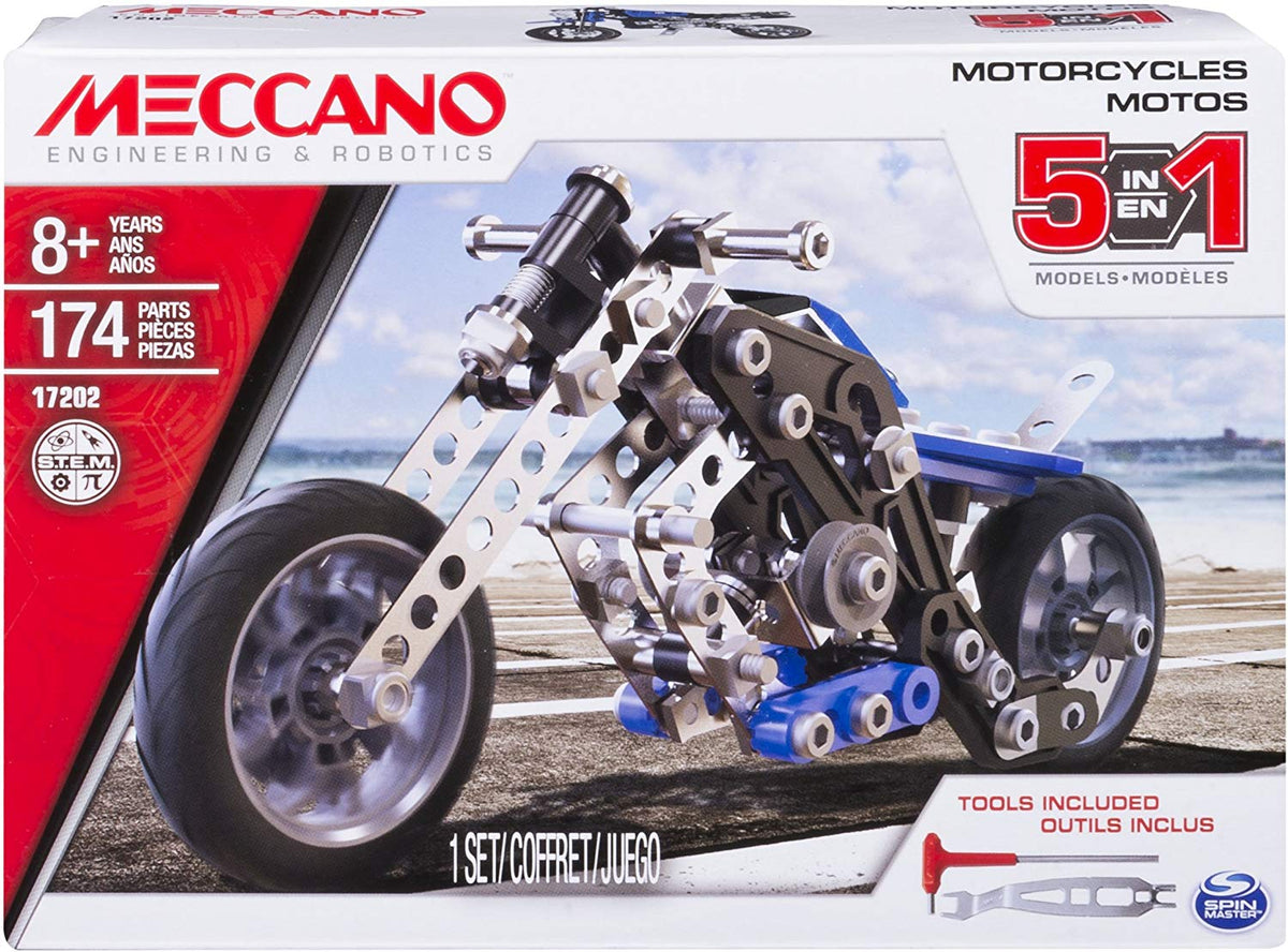 Meccano Erector, 5 in 1 Model Motorcycles Building Set