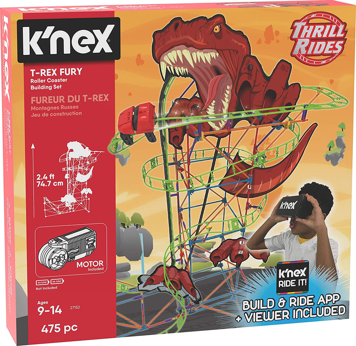 KNex Thrill Rides, T-Rex Fury Roller Coaster Building Set,