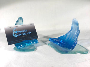 Business Card Glass Wave Holder - Goodwin Glassworks Hunter Glass  Glass Wave Art