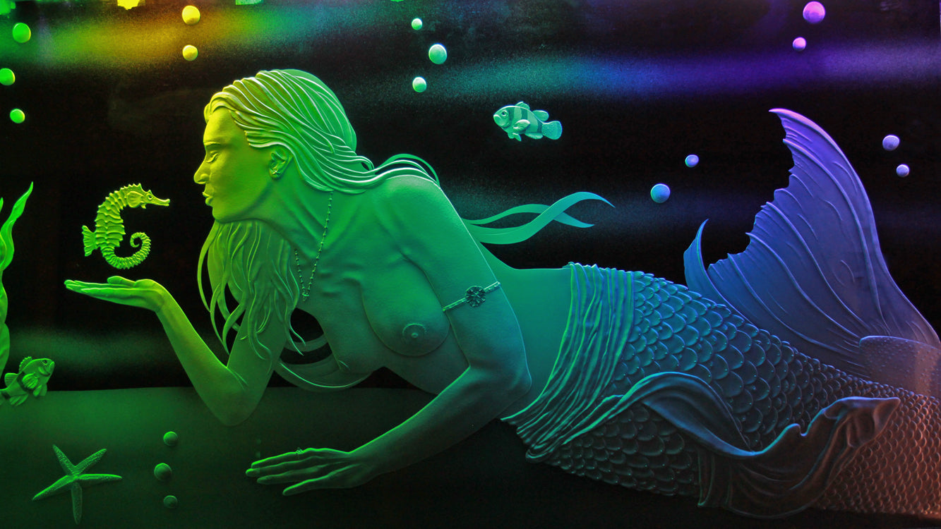 Awesome Mermaid LED Backlight Sandblasted Glass Art - Goodwin Glassworks Hunter Glass  Glass Wave Art