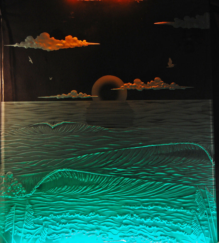 Samples Carved Glass Installations and Art - Goodwin Glassworks Hunter Glass  Glass Wave Art