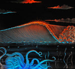 LED Backlight Sandblasted Art - Goodwin Glassworks Hunter Glass  Glass Wave Art
