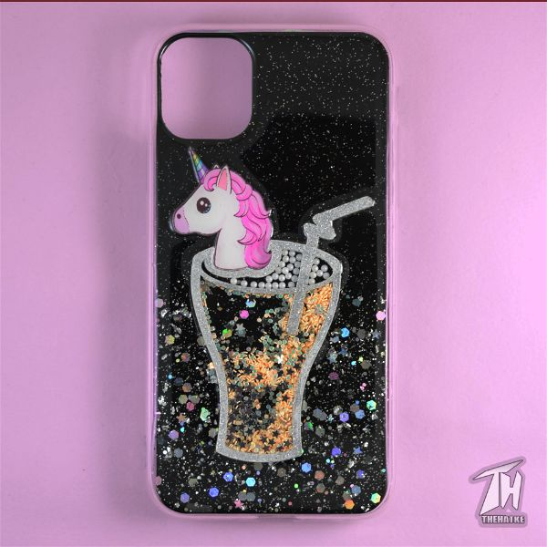 Black 3D Unicorn Silicone Case For Apple iphone 11 pro