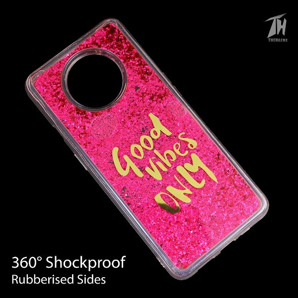 Dark Pink Good Vibes Glitter Case For Oneplus 7tDark Pink Good Vibes Glitter Case For Oneplus 7t
