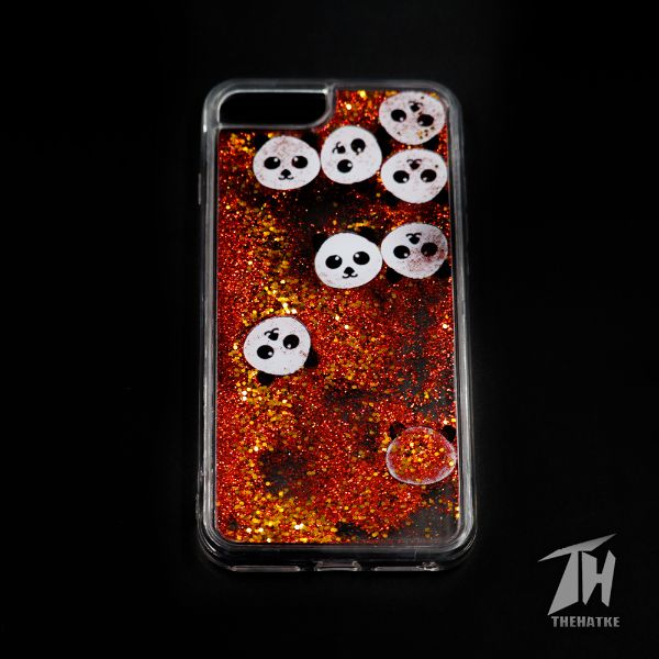 Red Glitter Panda silicone case for Apple Iphone 8 Plus