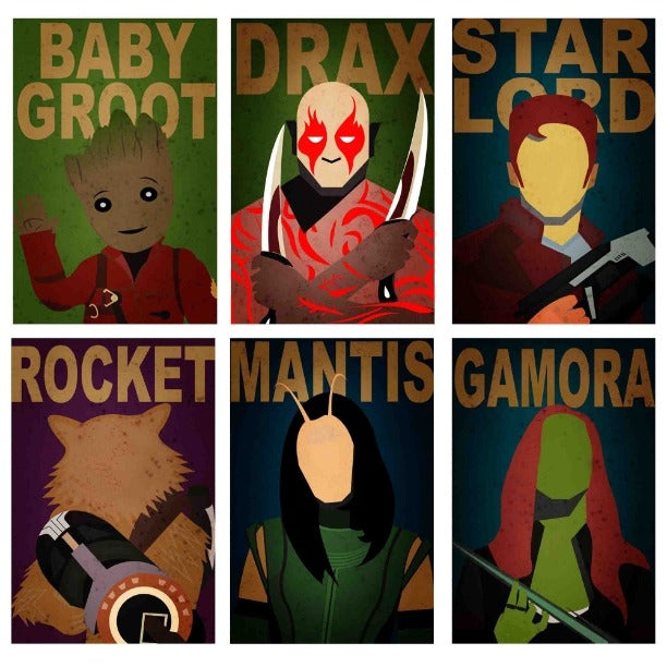 GUARDIANS OF GALAXY 6 POSTERS COMBO