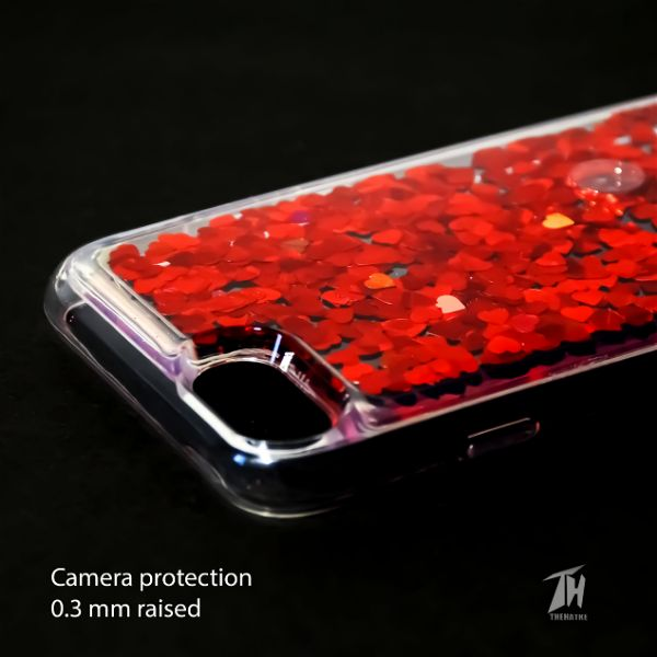 Red Glitter Heart Case For Apple iphone 7