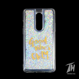Grey Good Vibes Glitter Case For Oneplus 8