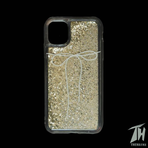 Golden White Bow Glitter Silicone Case for Oneplus 8T