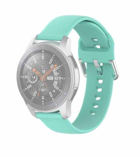 Light Blue Plain Silicone Replacement Band Strap With Stainless steel Buckle For Smart Watch (22mm)
