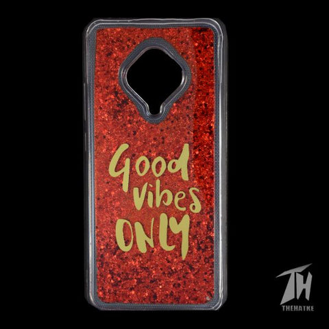 Red Good Vibes Glitter Silicone Case for Vivo S1 pro