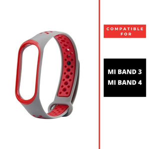 Grey Red Dotted Silicone Strap For M3/M4 Band