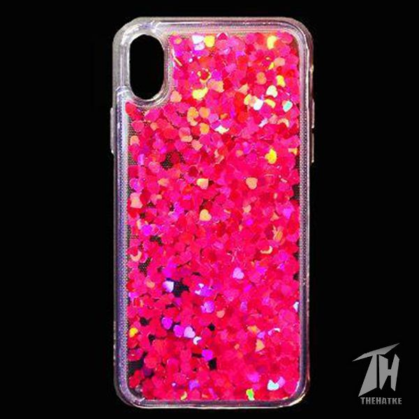 Dark Pink Glitter Heart Case For Apple iphone X/Xs