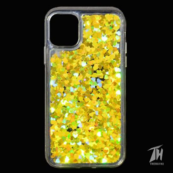 Golden Glitter Heart Case For Apple iphone 11